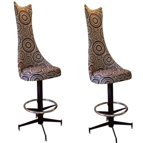 Pair of Ultra High Back Barstools by Irwin Feld Design
