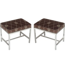 PAIR OF MID CENTURY CHROME OTTOMANS by Irwin Feld Design