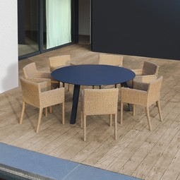 Discus Table with Abondo Chairs by d'apostrophe llc / Royal Botania