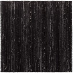 stripes on wood, white with graphite, dark 24/24 by Michele Renée Ledoux Fine Art