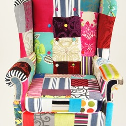 Grand wing back patchwork chair by Kelly Swallow