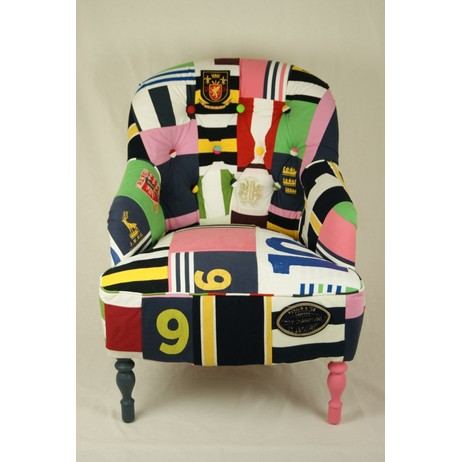 Rugby Shirt Button Back Chair by Kelly Swallow