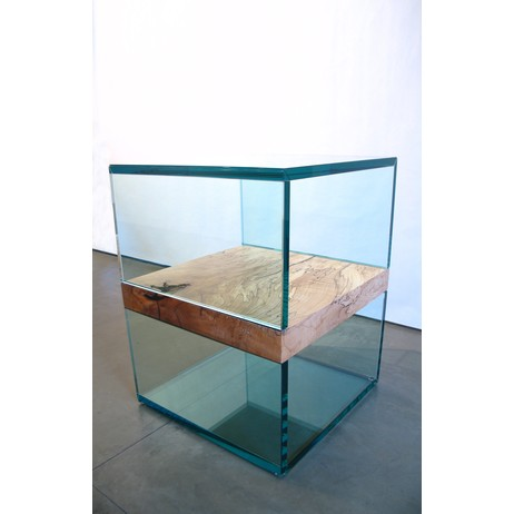 Starfire Glass Cube Side Table by John Houshmand