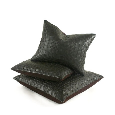 Basket Woven Leather Pillow  by Pfeifer Studio