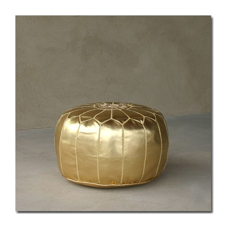 Gold Leather Pouf by Pfeifer Studio