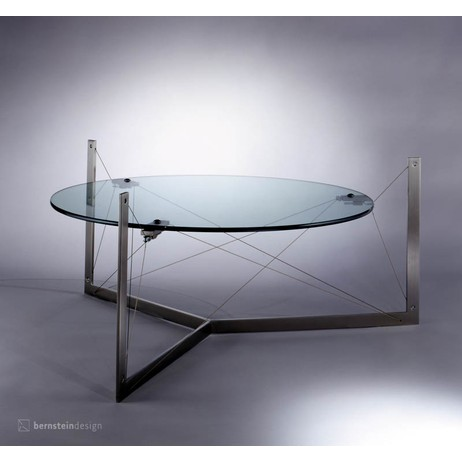 Floating glass coffee table by Bernstein Architecture