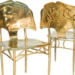 custom made Ginkgo bronze chair by Artesano Iron Works