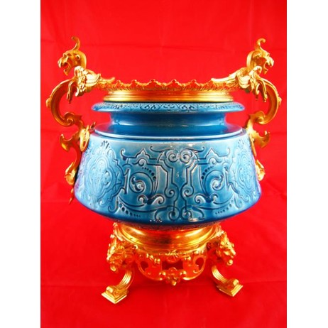 French Faience Blue Jardiniere by Gardner's Antiques