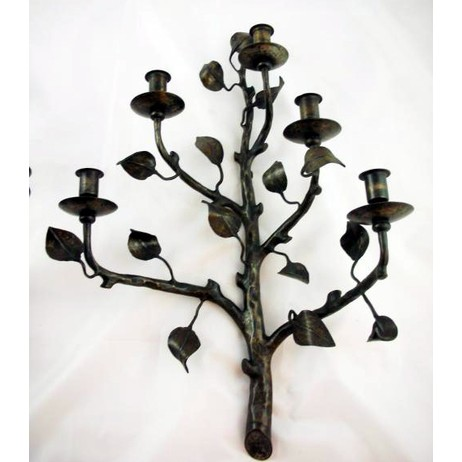 Pair of Iron Sconces by Gardner's Antiques