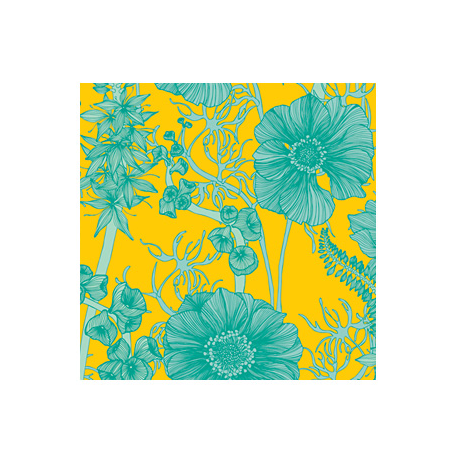 Wallpaper summer garden (blue) by Camilla Meijer