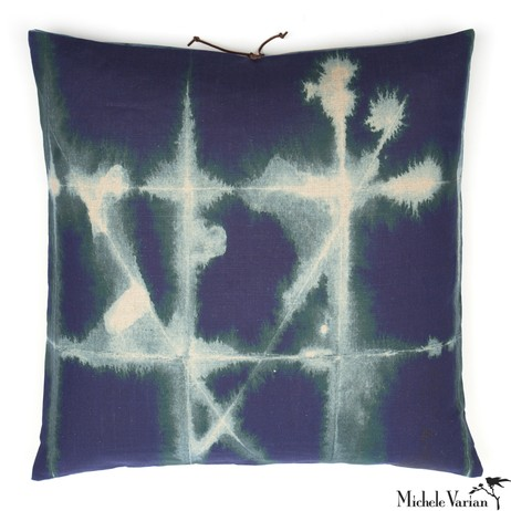 Printed Linen Pillow Grid Petrol 26x26 by Michele Varian
