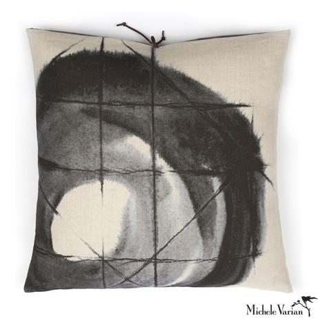 Printed Linen Pillow Orbit Black 20x20 by Michele Varian