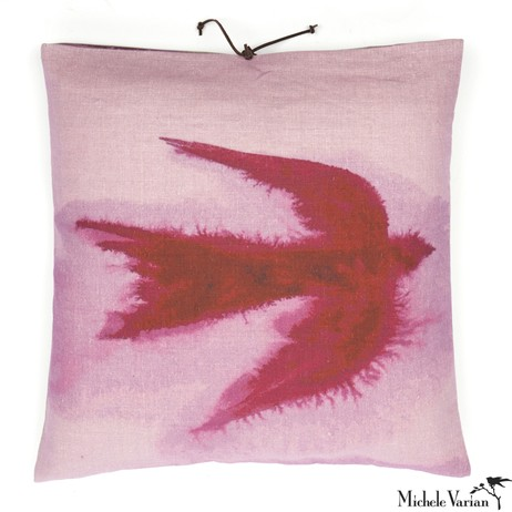Printed Linen Pillow Flight Dusk 18x18 by Michele Varian