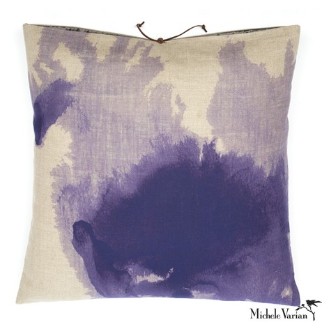 Printed Linen Pillow Wash Lilac 22x22 by Michele Varian