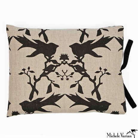 Printed Linen Pillow Thornbird Natural 14x18 by Michele Varian
