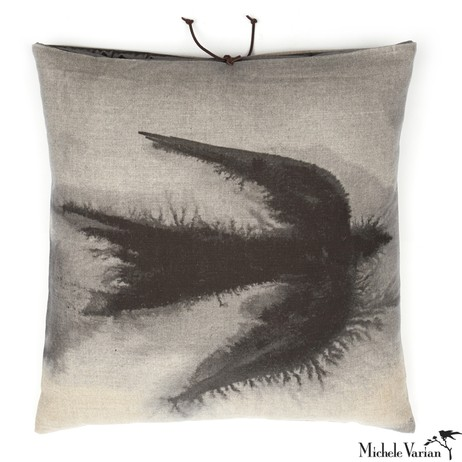 Printed Linen Pillow Flight Black 18x18 by Michele Varian