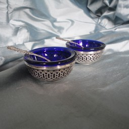 Vintage Silver & Cobalt Glass Salts by Silver Magpies