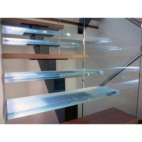 Glass stairs with wood by THINKGLASS INC