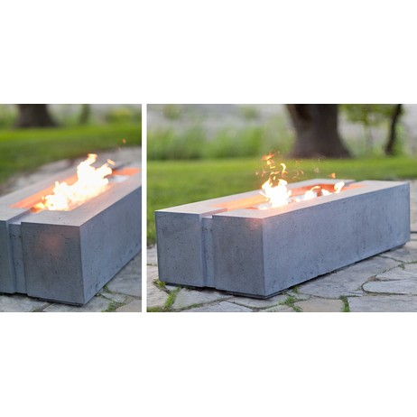 Avera Linear Concrete Firepit by StoneToYou - Engineered Concrete Products