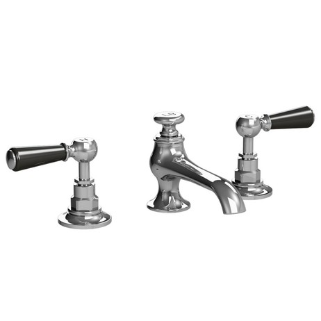 Black Lever Connaught 3-Hole Basin Mixer Pop-Up Waste by Lefroy Brooks