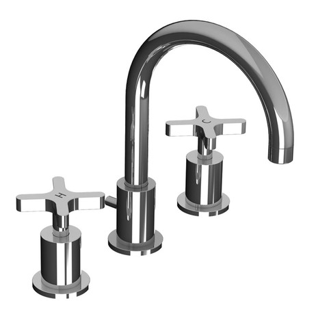 Kafka Cross Handle 3-Hole Basin Mixer With PICK UP WASTE by Lefroy Brooks