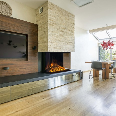 E32 H 3-Sided Electric Fireplace by Electric Modern