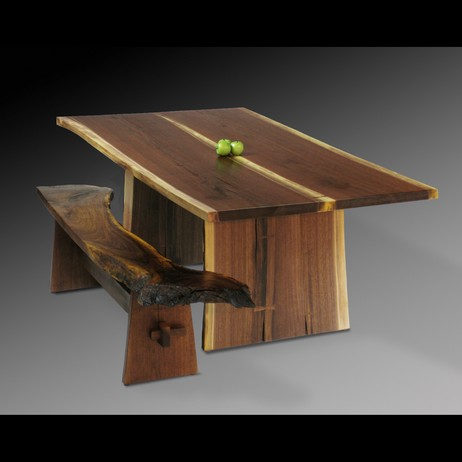 Walnut Table and Bench by David Stine Woodworking