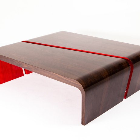 Red Rima Coffee Table by Splinter Works