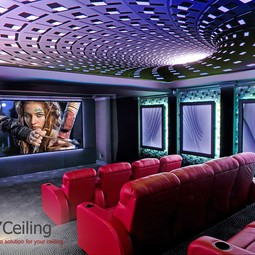 "stretch ceiling with 3D print ""Dark hole"" in home theater by NYCeiling, Inc."
