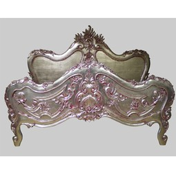 PINK SILVER LEAF BAROQUE BED  by Jimmie Martin