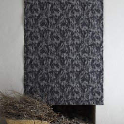 Floral charcoal wall hanging by Cocoon Fabric Art