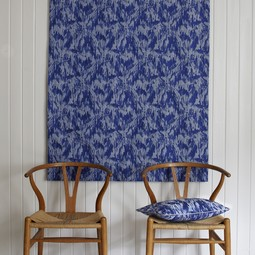 Floral indigo wall hanging by Cocoon Fabric Art