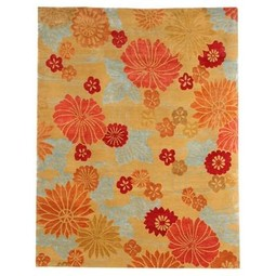 Flowers on Water (Orange/Blue/Gold) by emma gardner design