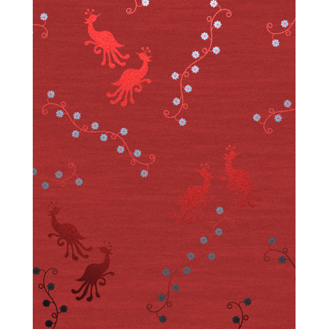 Birds with Plume Red by Concept Interiors Rugs
