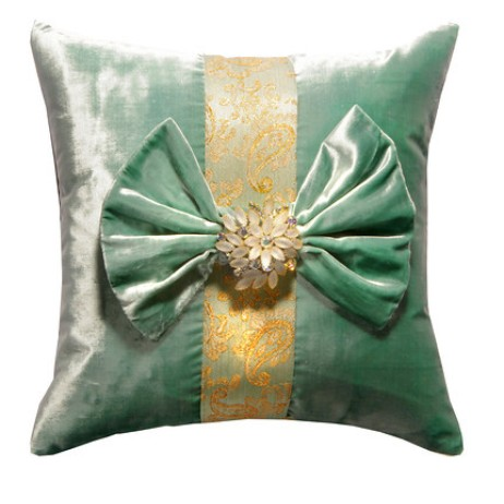 Mint Green Velvet Pillow with Vintage Brooch  by Deborah Main Designs