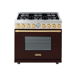 "36"" DECO Range in Matte Brown, Dual Color with Gold Trim by Superiore"