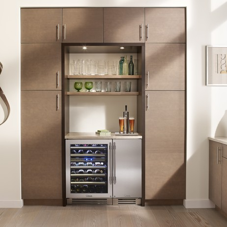 "True 15"" Beverage Dispenser and 24"" DUal zone Cabinet by True Residential"