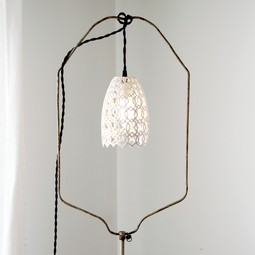Carved Porcelain Pendant Lamp by Isabelle Abramson Ceramics