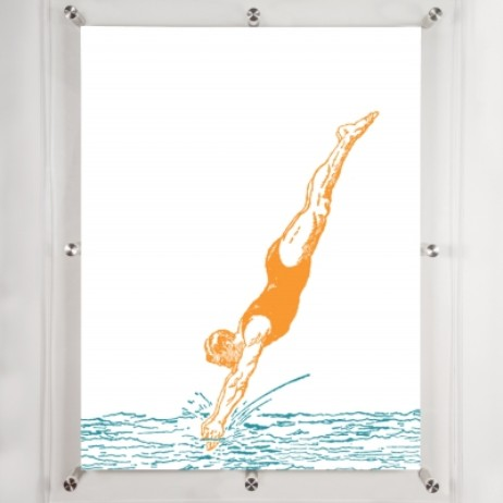 Diver 2- Wall art  by Mitchell Black