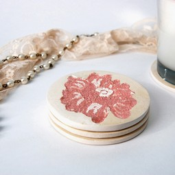 Lace Embedded Coasters, Dusky Pink by Laura Felicity
