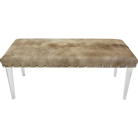 Cowhide Lucite Bench by Tiger Lily's