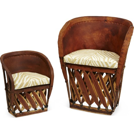 Leather Barrel Chairs, Pair by Tiger Lily's