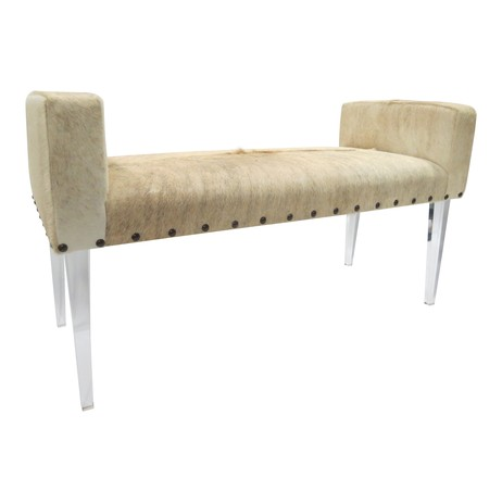 Larsen Cowhide Lucite Bench by Tiger Lily's