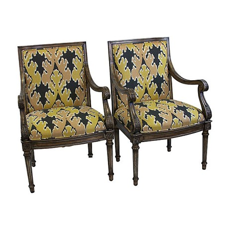 Ikat French Chairs, Pair by Tiger Lily's