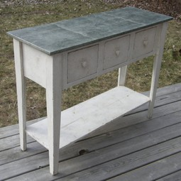 Zinc Top Console Table by High Falls Mercantile