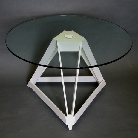 Biscuit White Geometric Table by Victoria & Son
