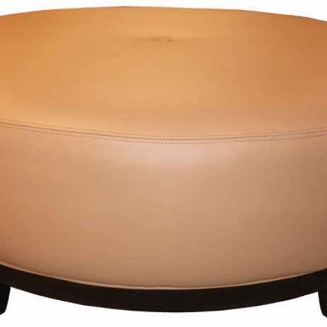 Wood Base Center button tufted Ottoman by TLS by Design Custom Furniture
