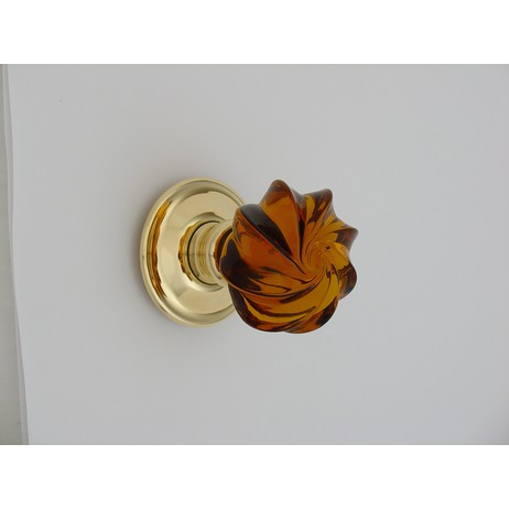 Merlin Glass amber whirl knob by Merlin Glass