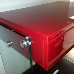 Red Lacquer Floating Desk by PianoFinish