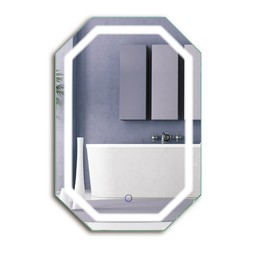 Octagon LED Bathroom Mirror 20 Inch X 30 Inch Defogger & Dimmer by krugg reflections USA